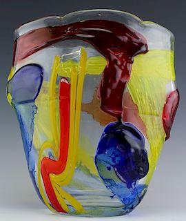 "Italian Murano Studio Art Abstract Glass Vase 11"""