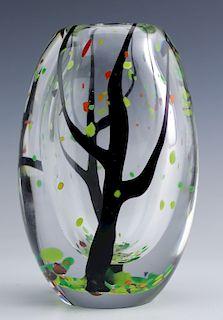 "Vicke Lindstrand Kosta Boda Art Glass Tree Vase 6"""