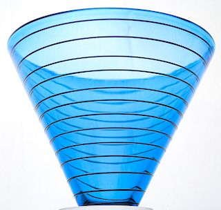 Correia American Studio Art Glass Blue Spiral Vase