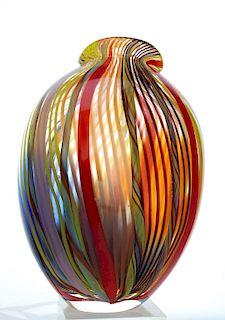 Mystery Artist Murano Studio Art Glass Stripe Vase