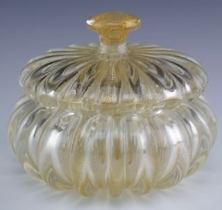 "Murano Barovier Gold Fleck Art Glass 7"" Lidded Jar"