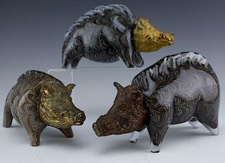 3 Italian Murano Art Glass & Bronze Pig, Wild Boar