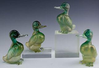 SET 4 Murano Italian Art Glass Duck Bird Sculpture