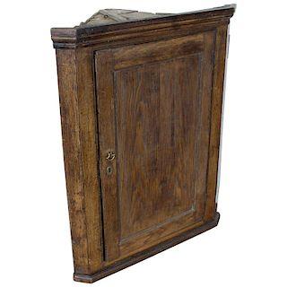 Antique English Georgian Oak Corner Cupboard