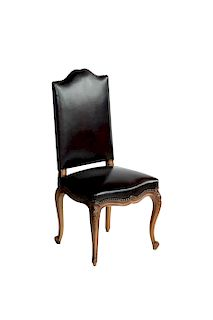 Set of 6 Antique French Leather Dining Room Chairs