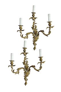 Pair of Antique French Louis XV Style Bronze Wall Sconces