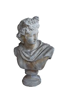 Large Antique Roman Bust Of Apollo