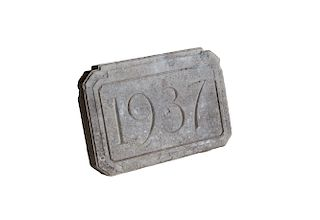 Vintage English Stone Date Plaque