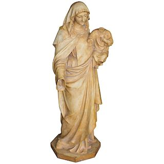 Antique Spanish Plaster Madonna