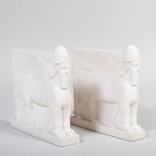 Pair of Copeland Parian Porcelain Assyrian Style Book Ends