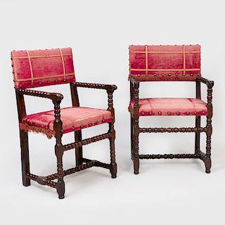 Near Pair of Continental Baroque Style Walnut Armchairs, probably Italian