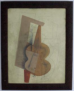 Circle of Juan Gris Modern Cubist Oil Art Painting
