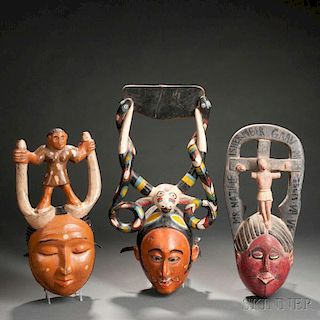 Three Ibibio Polychrome Carved Wood Face Masks