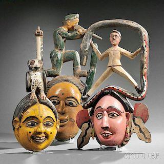 Three Polychrome Carved Wood Ibibio Face Masks