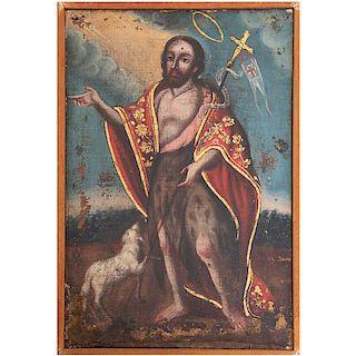 Anónimo. Juan Bautista. México, finales del siglo XIX. Óleo sobre tela. Con marco de madera. 42 x 28 cm