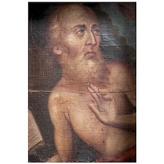 Anónimo San Jerónimo. México, siglo XX. Fragmento de pintura al óleo sobre tela.  Marco de madera. 26.5 x 20 cm
