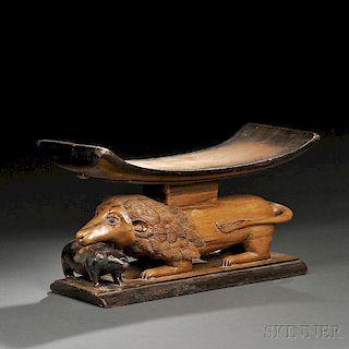 Baule Carved Wood Stool