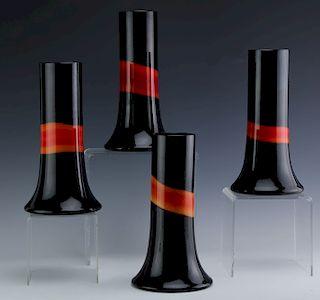 SET 4 Vistosi Murano Art Glass Black Orange Vases