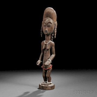 Baule Carved Wood Female Figure