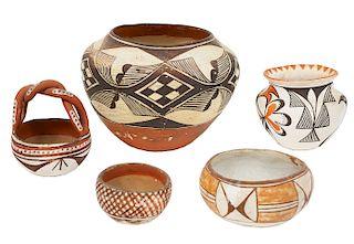 5 Pcs Acoma Pueblo & Isleta Pueblo Pottery