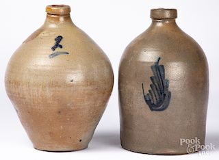 Two cobalt decorated stoneware jugs