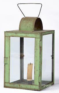 Green painted tin lantern