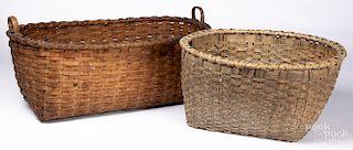 Two large split oak baskets