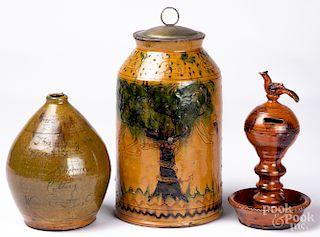 Shooner redware Adam & Eve jar, etc.