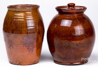 Two Shooner contemporary redware jars