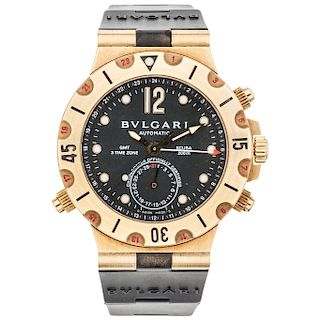 BVLGARI DIAGONO SCUBA GMT REF. SD 38 G GMT wristwatch.