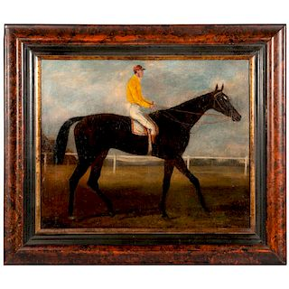 A 19th century oil on board painting of a racehorse and jockey.