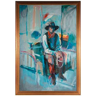 A late 20th century oil on canvas portrait of a cowboy.