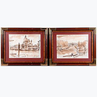 Two wash sketches of Venice on Gritti Palace Hotel stationary signed lower right: James L. Callahan. Mid 20th century.