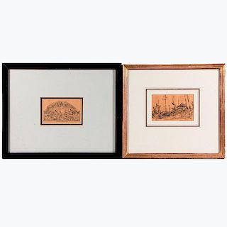 Four late 19th/early20th century ink drawings by Frank Van Sloun, (1879-1938). Signed lower right.