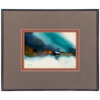 A 20th century watercolor landscape signed Alireza lower left and dated '77.