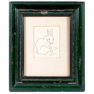 An ink on paper drawing of a rabbit by Nina K. Brisley (1898-1978) signed lower right and dated 1922.