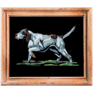 A 20th century oil on felt painting of a pointer.