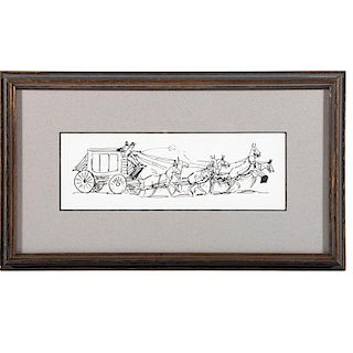 Pen and ink drawing of a stagecoach attributed to Edward Borein (1872-1943).