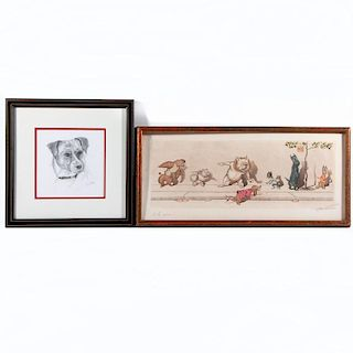 A 20th century canine themed French print and a pencil drawing of a dog both signed illegibly lower right.