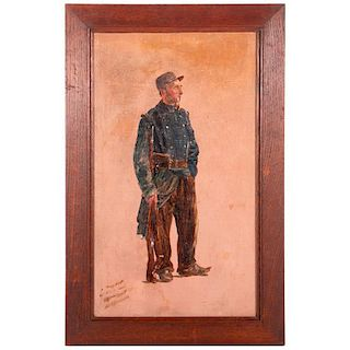 Early 20th century oil on board of a World War I French Soldier. Signed lower left Henry Hunt and dated 1916.
