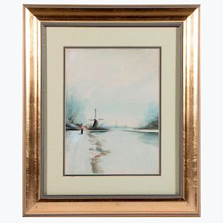 A watercolor landscape by Bruce Crane (1857-1937) signed mid right.