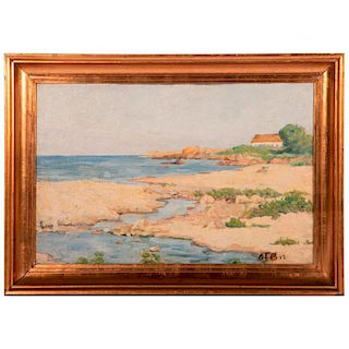 An oil on board coastal scene signed on lower right and reverse Aage Blumensaadt (1889-1939). Dated 1920.