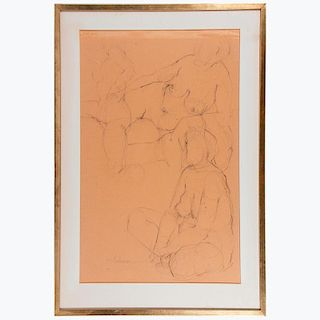 Graphite on paper study of three nudes signed Haliman lower left.