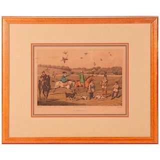 A rare English falconry print signed Henry Alken (1785-1851) and dated 1820.