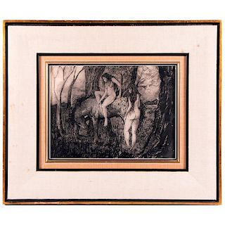 A 20th century ink on paper drawing of two nudes and a horse.