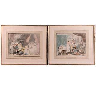 A pair of prints after 18th century drawings by Thomas Rowlandson (1756-1827).