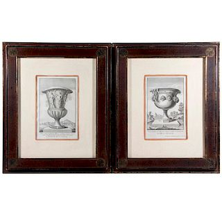 A pair of 18th/19th century lithographs of ancient Roman and Greek vases.