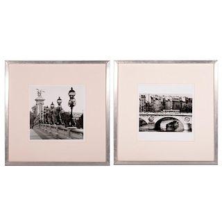 A pair of photographs of Paris bridges.