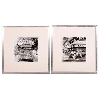 A pair of photographs of Paris street scenes.