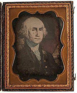 Quarter Plate Daguerreotype of Gilbert Stuart's Painting of George Washington